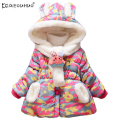 KEAIYOUHUO Winter Outerwer Rabbit Hat Girls Coats Long Sleeve Hooded Jackets For Girls Children Down Coat Kids Clothing