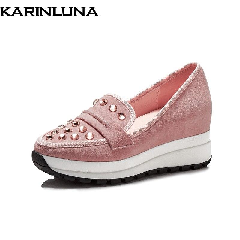 Comfort On Beiläufige qualität Verkauf Frühjahr Slip Plattform Kid rosa Frauen Flache Suede Dropship Frau Top Heißer Schuhe Karinluna Mode Schwarzes aZqR88