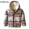 El oso Winter & Autumn Bebê bebe Meninos Meninas Camisolas Casaco Cardigan Roupas de Lã Grossa de Algodão Quente Jaqueta Com Capuz de Malha XL50