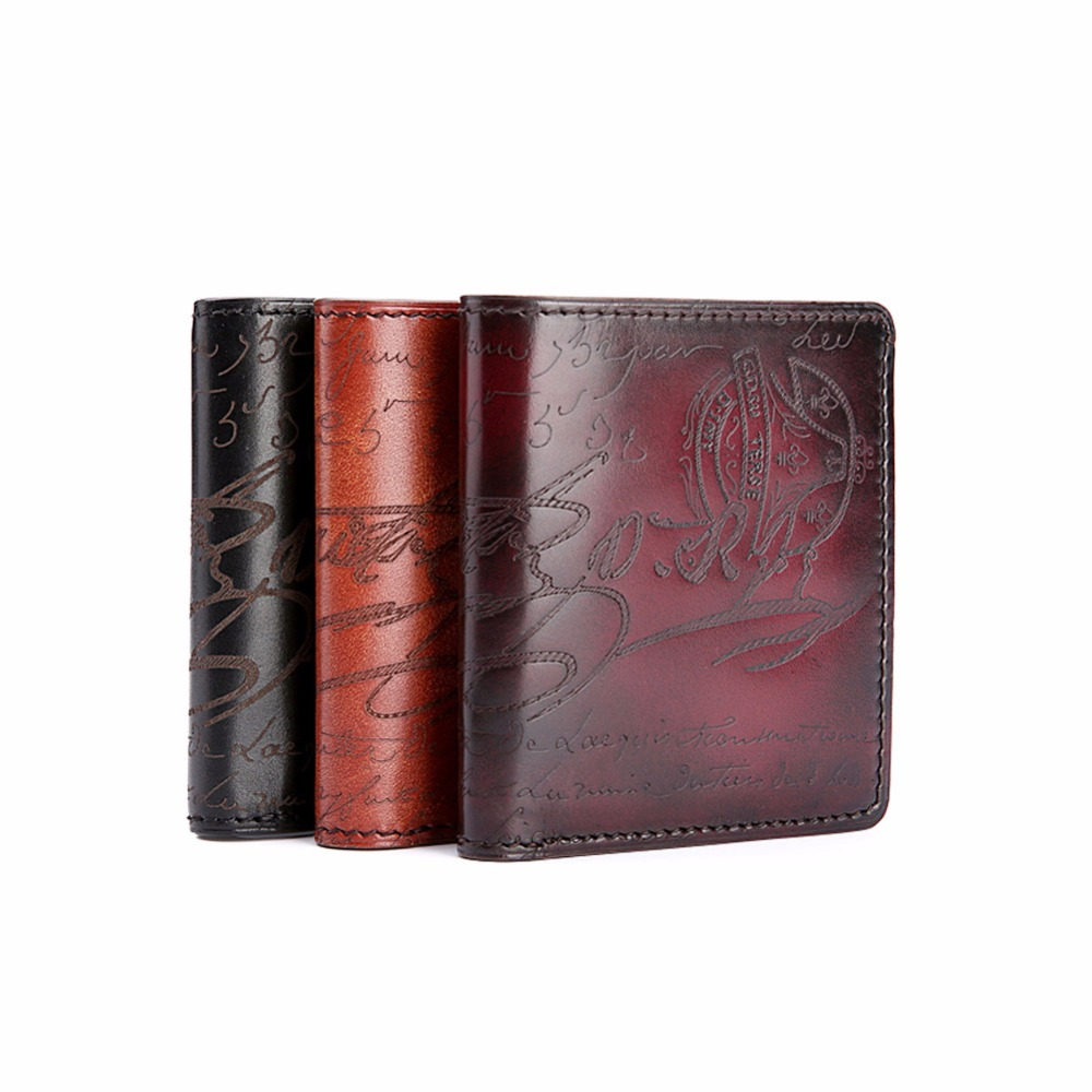 TERSE Italian calfskin high quality handmade genuine leather font b wallet b font luxury engraving mini
