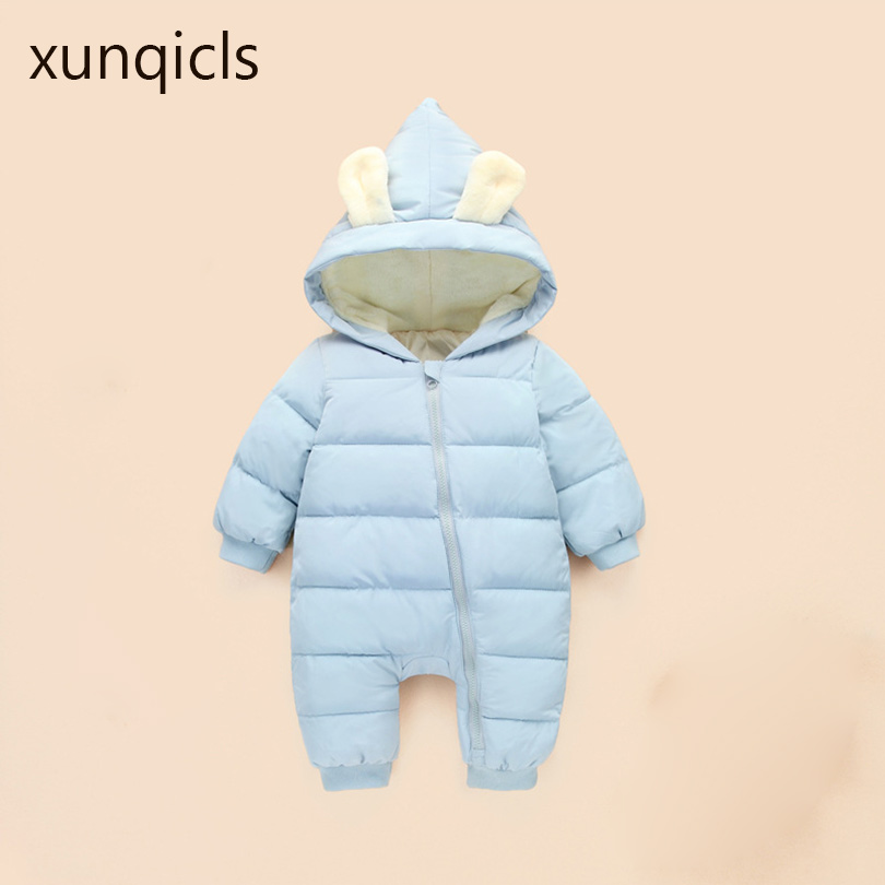 xunqicls 2017 New Baby Down Rompers Rabbit Ear Winter Toddler Jumpsuit Infants Boys Girls Warm Climb Clothes Zipper Snow Wear down the rabbit hole