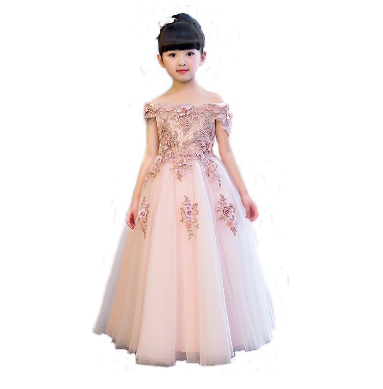Girls Shoulderless Wedding Dress Bead Appliques Party Tulle Princess  Birthday First Communion Gown for of 2 4 6 8 10 35f591cc9cf9