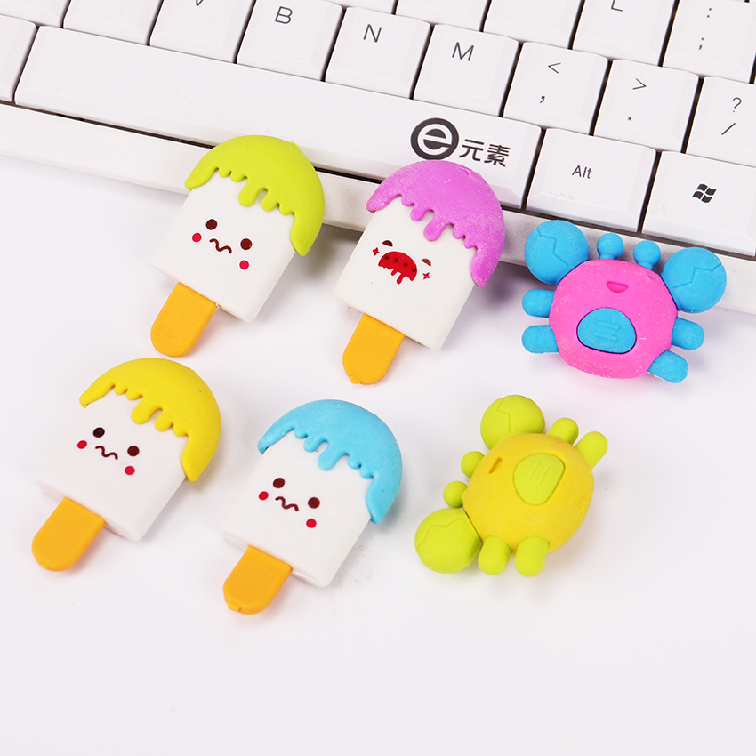 4PCS Cute Stationery Animals Crab Rubber Erasers School Office Correction Supplies Kawaii Popsicle Food Eraser Kids Gifts