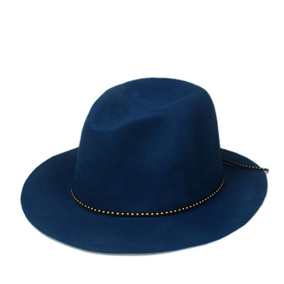 6 шт./лот новые модные женские туфли Для мужчин шерсть autunm зима фетровая шляпа Фетр Панама женская флоппи Дерби шляпа Кепки Головные уборы - Цвет: Blue