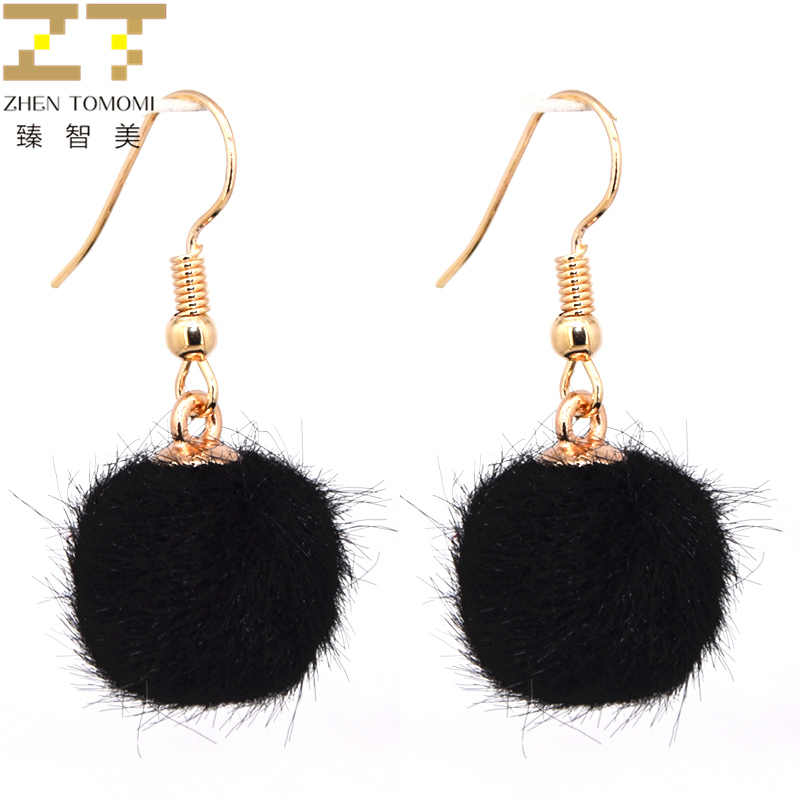 2019 Hot New Arrivals Fashion Hairball Pendants Earrings Brincos oorbellen Simple Plush Ball Drop Earrings For Women Jewelry
