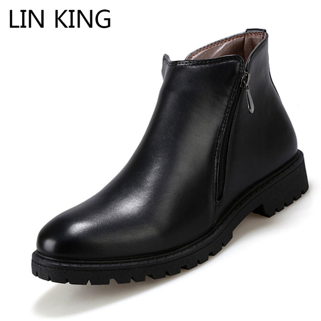209891420202 LIN KING New Arrival Men Martin Boots Zipper Solid PU High Top Ankle Boots  Round Toe