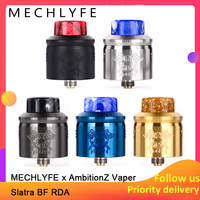 G TASTE MECHLYFE x AmbitionZ Vaper Slatra BF RDA dual mesh coils and wire coils 25mm diameter with resin drip tip vs DROP RDA