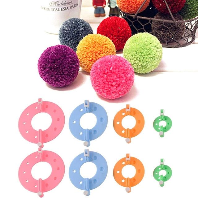 1 Set Pom Poms Maker Fluff Ball Weaver Needle Knitting Wool Tool Yarn Kit Tools TB Sale