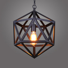 Retro industrial American country style wrought iron chandelier creative personality polyhedral diamond chandelier engineering L