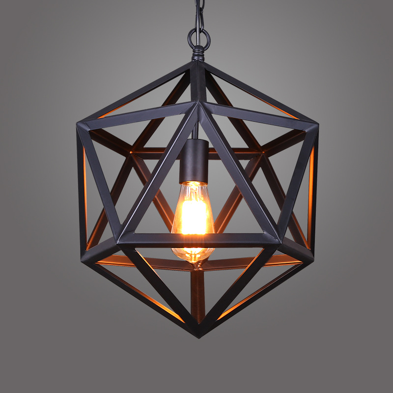 Retro industrial American country style wrought iron chandelier creative personality polyhedral diamond chandelier engineering L недорго, оригинальная цена