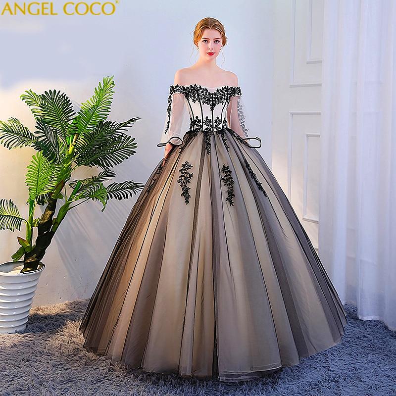 14338 21 De Descuento2019 Nuevo Negro Blanco Quinceañera Vestidos De Tul Con Apliques De Encaje Vestido De Baile De Disfraces Dulce 16 Vestidos De