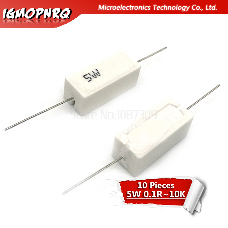 10pcs 5W Cement Resistance 0.1 - 10k Ohm 0.22 0.33 0.5 1 10 100 1K 10K Ohm 0.1R 0.22R 0.33R 0.5R 1R 10R 100R 5% Cement Resistor