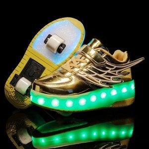 Image 2 - Детские кроссовки с колесиками, модная обувь для роликовых коньков, со светодиодной подсветкой, зарядка через USB, розовые, золотые