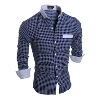 Luxury Mens Slim Fit Shirt Plaid Mens Shirts Slim Fit Cotton Long Sleeve Formal Dress Casual