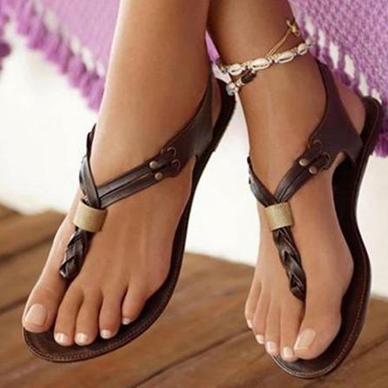 ФОТО Deep Brown Flip Flop Women Sandals Flat Heels Summer Shoes Sapato Feminino Causal Style Flip Flops 2017 New Ladies Shoes Fashion