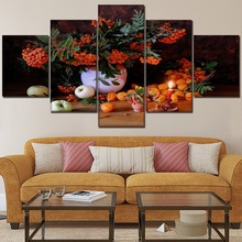 Home Decor Kitchen Wall Art 5 Pcs Still Life Fruit Tree Vase And Painting Canvas HD Printing Type Picture Framework