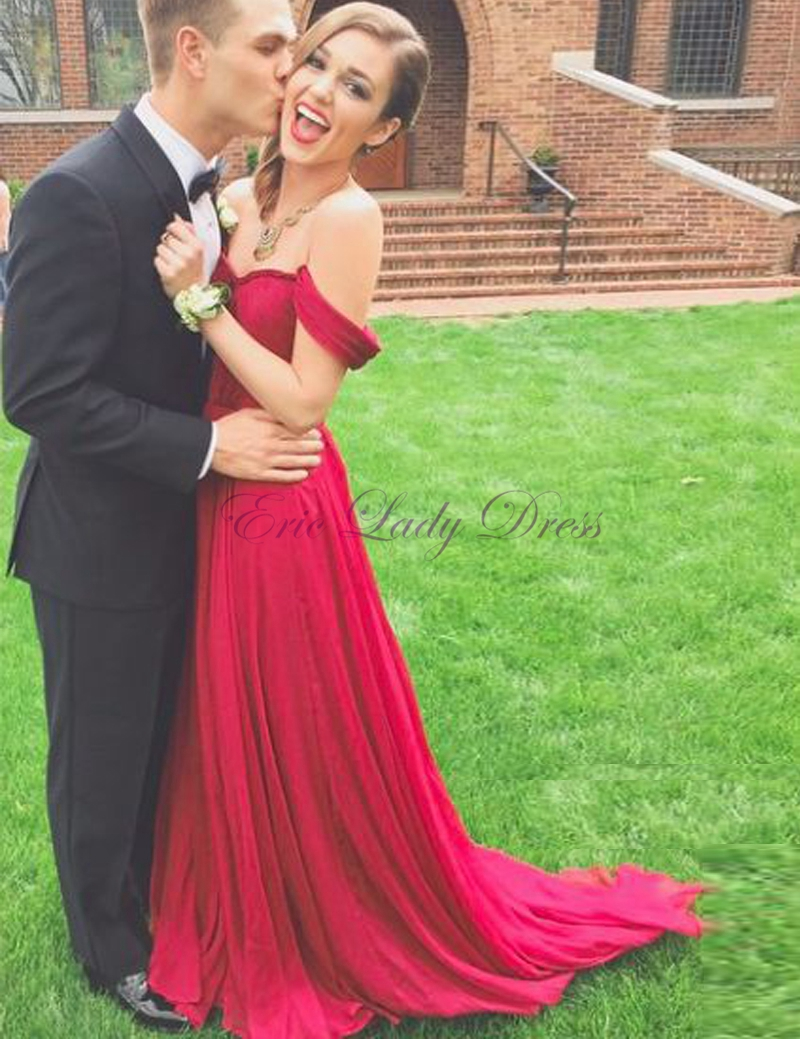 e564a7b804987 Burgundy Prom Dresses Long Chiffon Off The Shoulder Prom Evening Gowns Plus  Size Elegant Party Dresses Vestido De Festa Longo