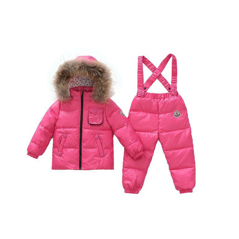 ФОТО 2Pcs Baby Boys Girls Winter Pants Sets Kids Bib Pants+Hooded Outerwear Coat Snowsuit Snow Wear Clothing Down Clothing Sets V30