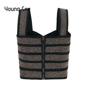 Image 2 - Young Gee Bustier court à paillettes, Style Punk, Sexy, Bralette, Tube élastique pour femmes