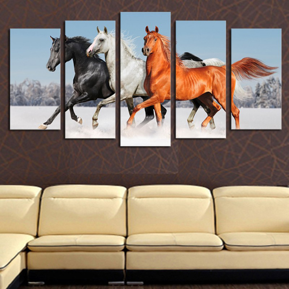 Horse sticker wall art - 5 Panels Canvas Print Running Horses Painting On Canvas Wall Art Picture Home Decor Fiv020