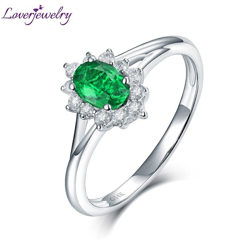 Gros Réel 14 K Or Blanc Naturel Colombie Emerald Bague de Fiançailles pour Femme Maman De Noël Bijoux Cadeau