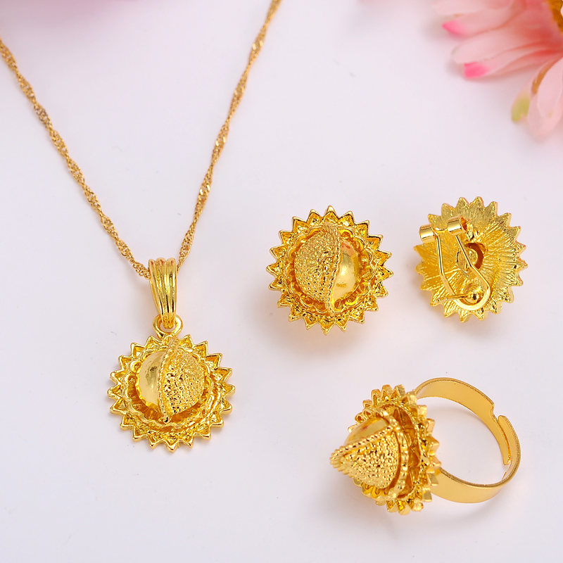 Éthiopien or bijoux ensembles boucles doreilles pendentif anneau kenyatraditionnel africain nuptiale Habesha femmes fête africaine mariage cadeau