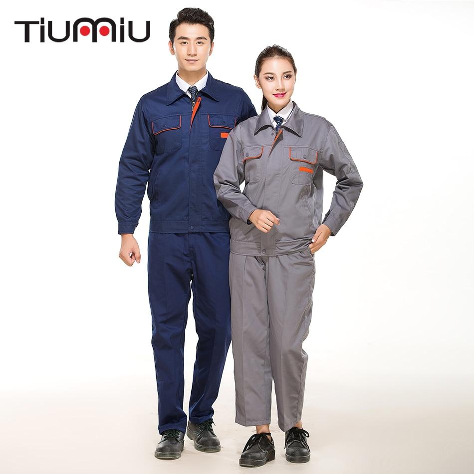 New Arrival Unisex Work Wear Set Two Piece Protective Clothes Men Women High Quality Coat Pants Workshop Engineering Service Set