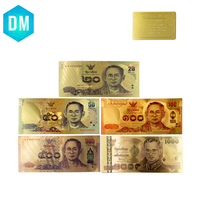 24k Gold Plated Colorful Gold Banknote Rare Thailand Set 20.50.100.500.1000 Fake Money Plated  Gold Business Gift Collection