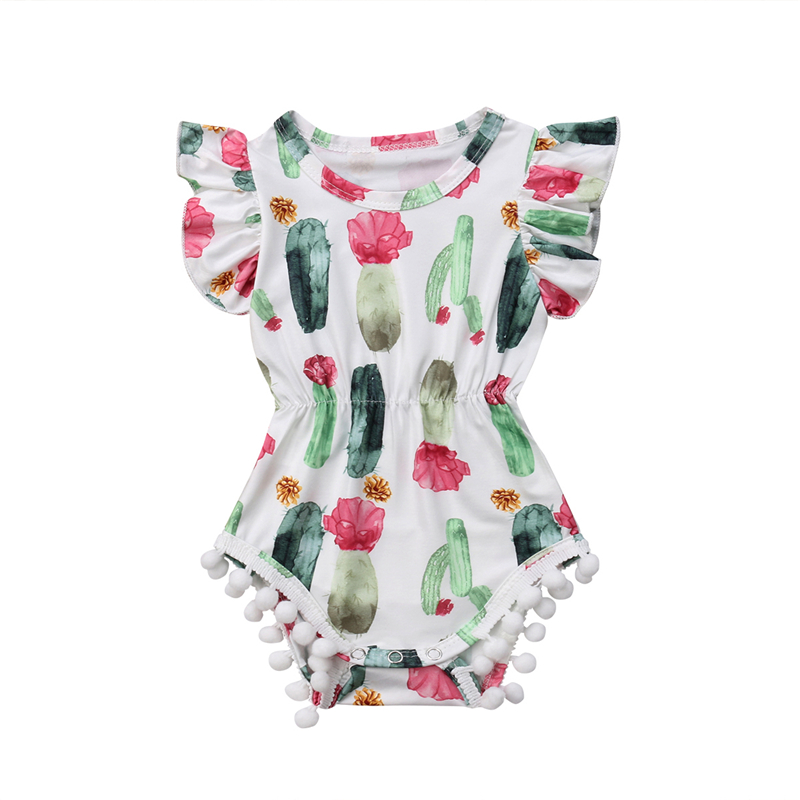 New Newborn Kids Girls Cactus Print   Romper   Sunsuit Overalls Toddler Baby Girl Tassels Sleeveless Babygrows Floral Summer Clothes
