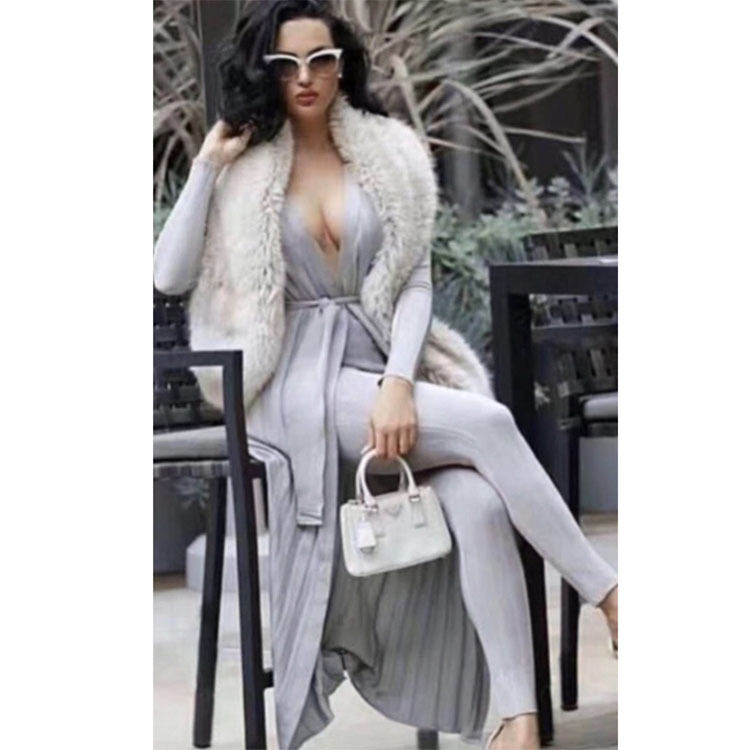 Top Quality 2017 Autumn Winter Women Sexy Runway 2 Pieces Bandage Set Long Sleeve Cardigan Coat Suit Tunic Pencil Pants Set high quality woman suit 2 pieces set army green long sleeve suede blazer suit set casual vintage two pieces set women suits