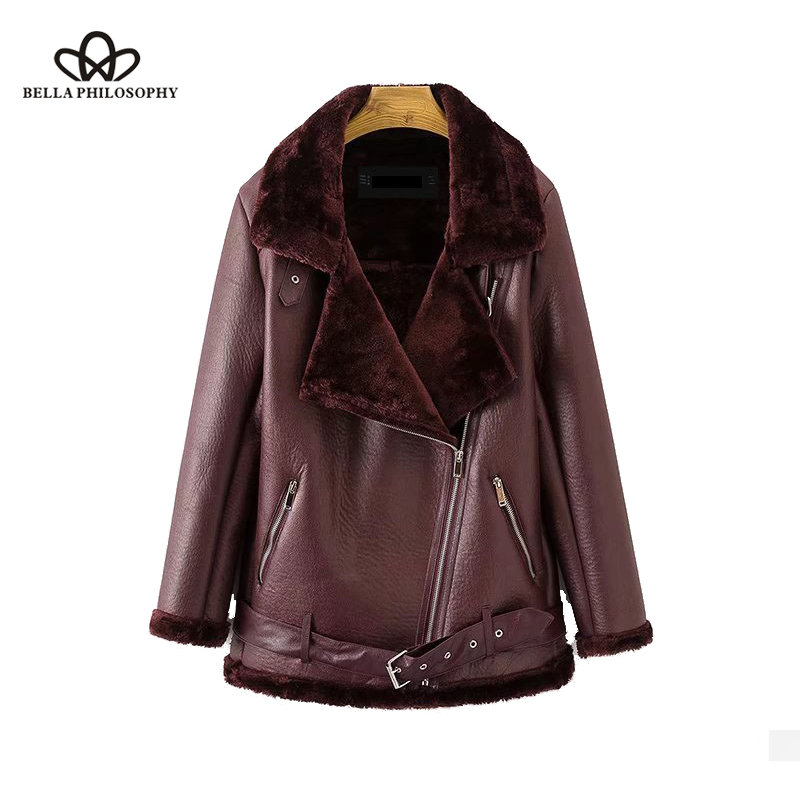 Bella Philosophy 2019 Winter Coat thickened Padded warm PU   leather   motor coat female turn down collar ladies shearling coat