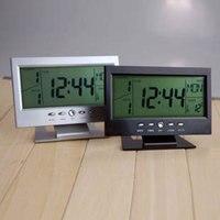 Big LCD Screen Alarm Clock Plastic Digital Quiet Voice Control Alarm Clock Luminous Thermometer Calendar Clock