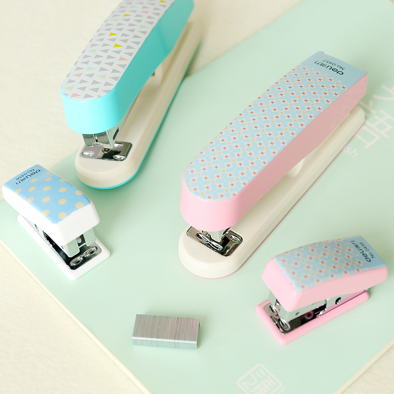 Cartoon Geometric Stapler Colourful Fashion Mini Student Stapler Useful Mini Stapler Staples Set Grapadora Panda Stapler Marble