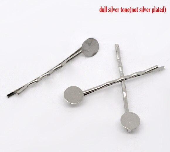 Free Shipping 100pcs Silver Tone Bobby Pins Hair Clips W / 8mm Glue Pad 4.4cm Hair Accessories