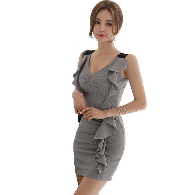 8b0a037ab Summer 2018 Korean Style Gray Dress Pin Up V Neck Ruffles Trim Bodycon Mini  Party Dress Moda Feminina Gown Short