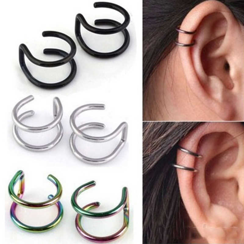 SHUANGR fashion 1 pair 5 style Punk Rock Ear Clip Cuff Wrap Earrings No piercing-Clip Hollow Out U Pattern Statement jewelry