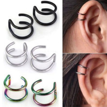 SHUANGR fashion 1 pair 5 style Punk Rock Ear Clip Cuff Wrap Earrings No piercing-Clip Hollow Out U Pattern Statement jewelry(China)