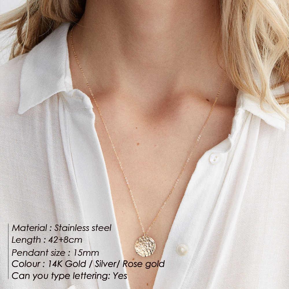 E-Manco สแตนเลสสตีลสร้อยคอผู้หญิงรอบเหรียญจี้สร้อยคอ Trendy Chokers สร้อยคอผู้หญิงสร้อยคอเครื่องประดับ