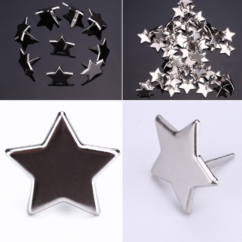 50PCS Silver Star Brads Scrapbooking Embellishment Attache Parisiennes Scrapbook Brads Adornos De Metal Para Scrapbook
