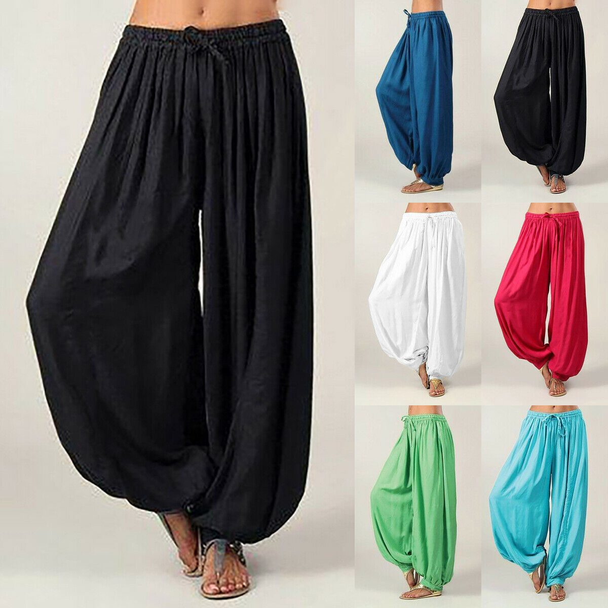 AU WOMEN HAREM TROUSERS ALI BABA LONG PANTS BAGGY HAREEM LEGGINGS PLUS SIZE 8-18