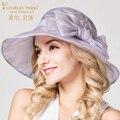 Повседневная мода Складной Уф Солнцезащитный Крем Шелковый Вс Шляпы 100% Шелк открытый Путешествие Пляж Вс Шляпы Элегантные Женщины Корейски Вс шляпа