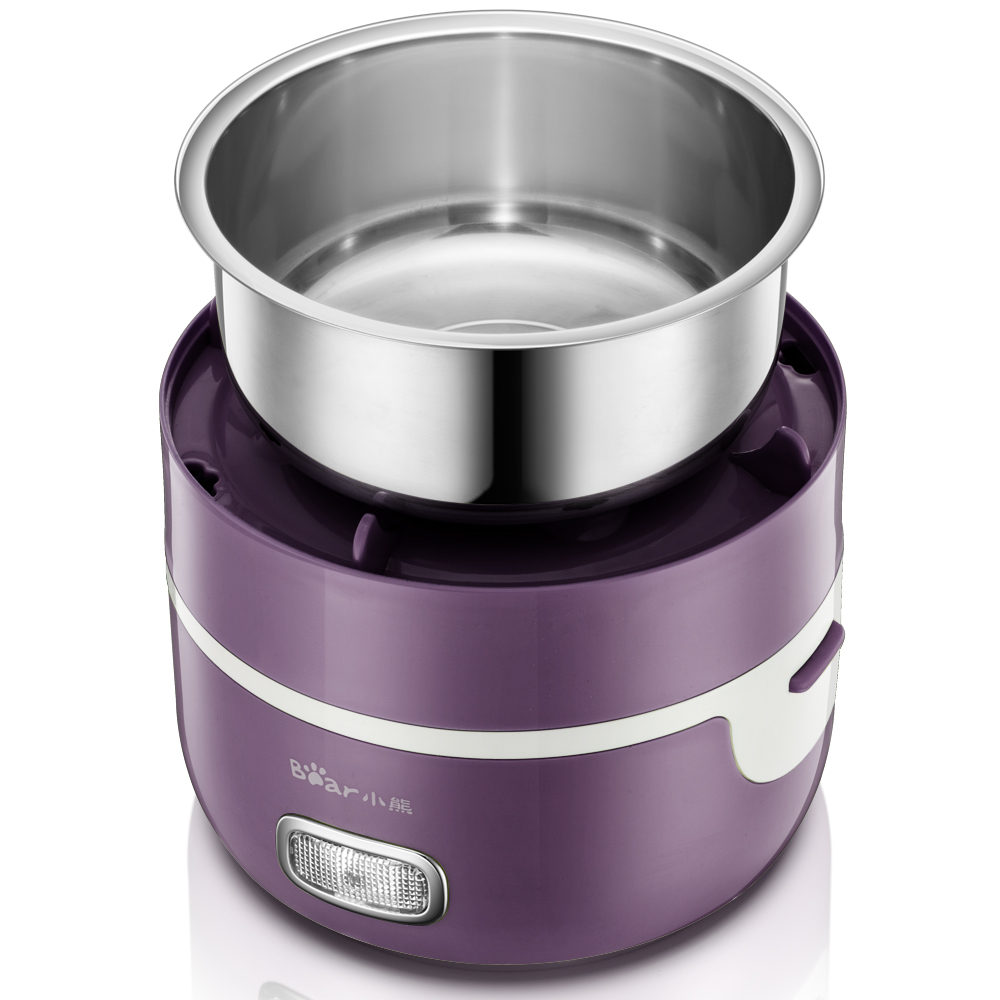 Bear 2 Layer Multi Electric Lunch Box Free Vacuate Tool Mini Rice Cooker Heating Insulation Mini Stainless Steel Multi Cooker bear electric lunch box portable vacuum three layer automatic insulation heating cooking stainless steel rice cooker