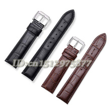 Wholesale Durable Men/Women Genuine Leather Stainless Steel Buckle Strap Watch Band 16 18 19 20 21 22 24 mm Black Brown