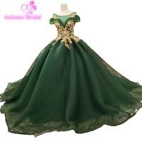 2018 Scoop Gold Lace Evening Dress Ball Gown Sleeveless Green Tulle Cap Sleeve Vintage Vestidos De