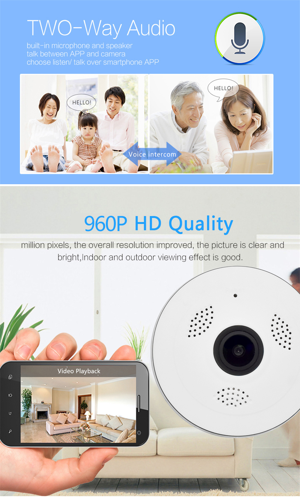 Wistino CCTV HD 960P WIFI IP Camera Alarm Wireless VR Panoramic Camera Fisheye 360 Degree Video Baby Monitor Home Surveillance (3)