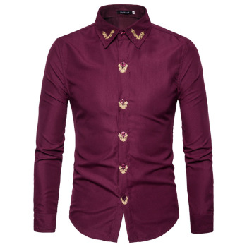 Mens Gold Embroidery Slim Fit Dress Vintage Shirt
