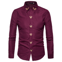 Men Shirts 2017 Baroque Shirts Mens Gold Embroidery Royal Camisa Slim Fit Social Club Outfits Luxury