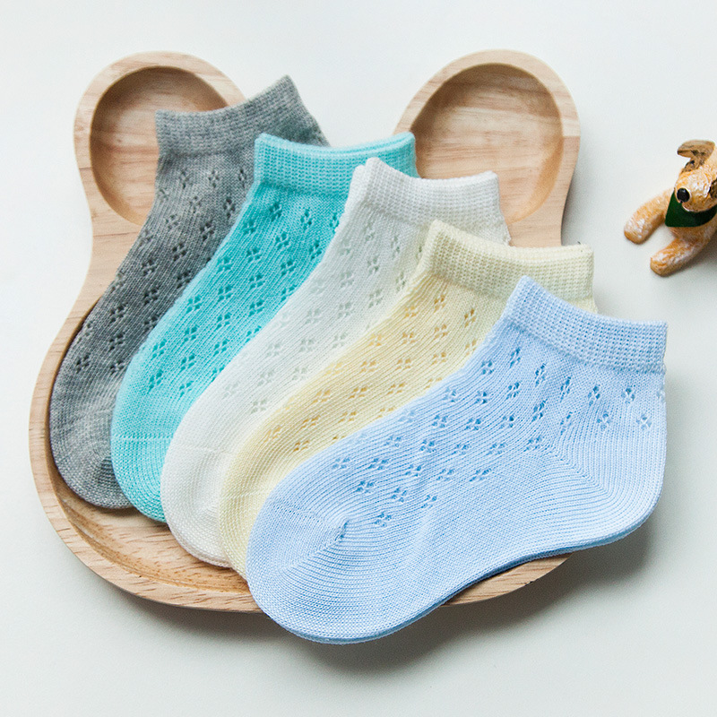 5colors 5pair cotton baby socks summer mesh breathable children 39 s socks combed cotton newborn socks thin section baby girl stuff in Socks from Mother amp Kids