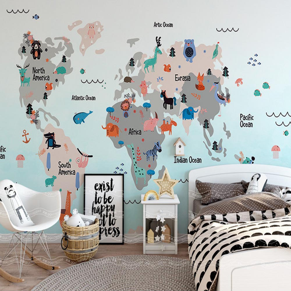 3D Mural Hand Painting Carton World Animal Map for Kids Bedroom Wall Art Decor Wallpaper Murals Large Photo Wall Paper Custom 304 stainless steel tape paper carton waterproof paper towel box toilet roll holder hand hand carton carton