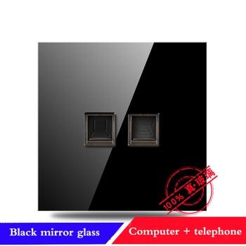 EU France Germany UK socket Full set of 86 type 1 2 3 4 gang 1 2way black mirror glass wall switch LED light switch Industry 13